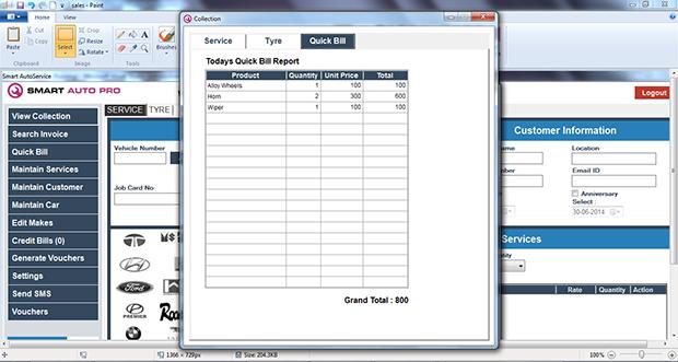Smart Auto Quick Bill Report
